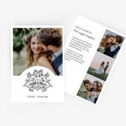 Nachhaltige Dankeskarte Hochzeit im schlichten Tauben Design