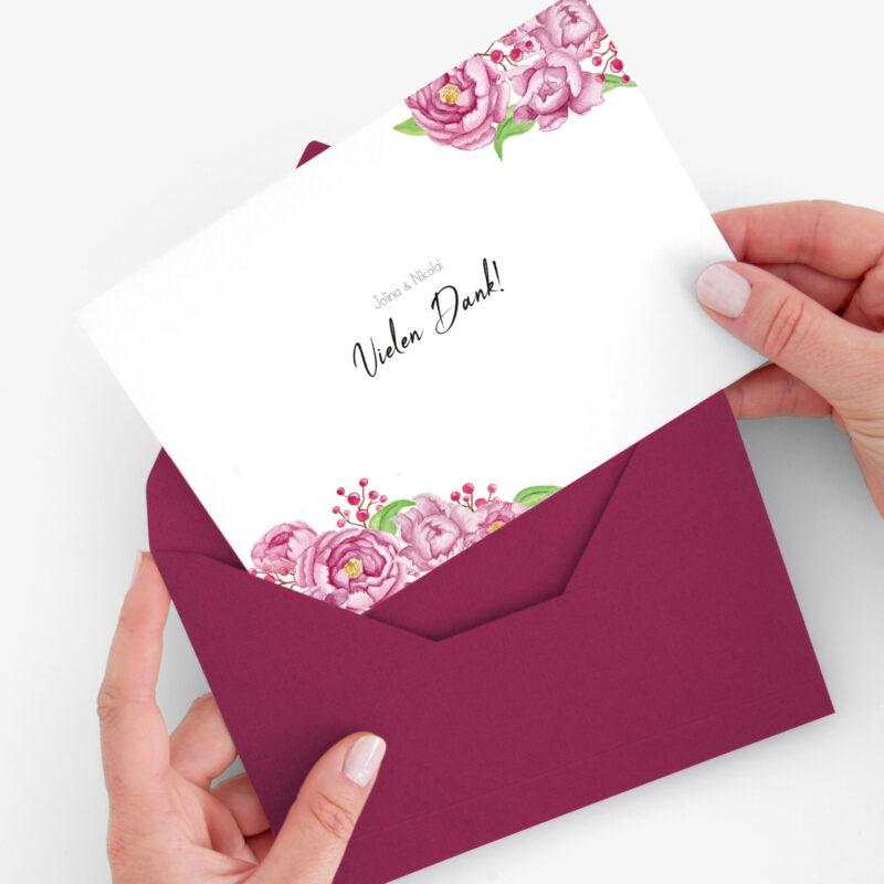 Nachhaltige Dankeskarte Hochzeit im Design Pfingstrosen