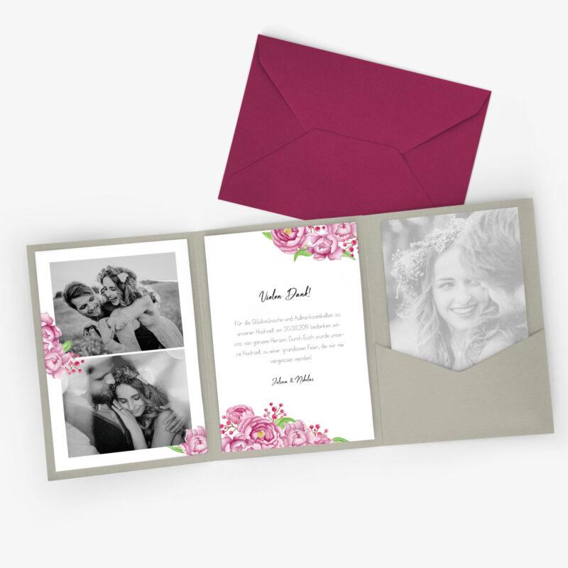 Nachhaltige Dankeskarte Hochzeit im Pocketfold Format