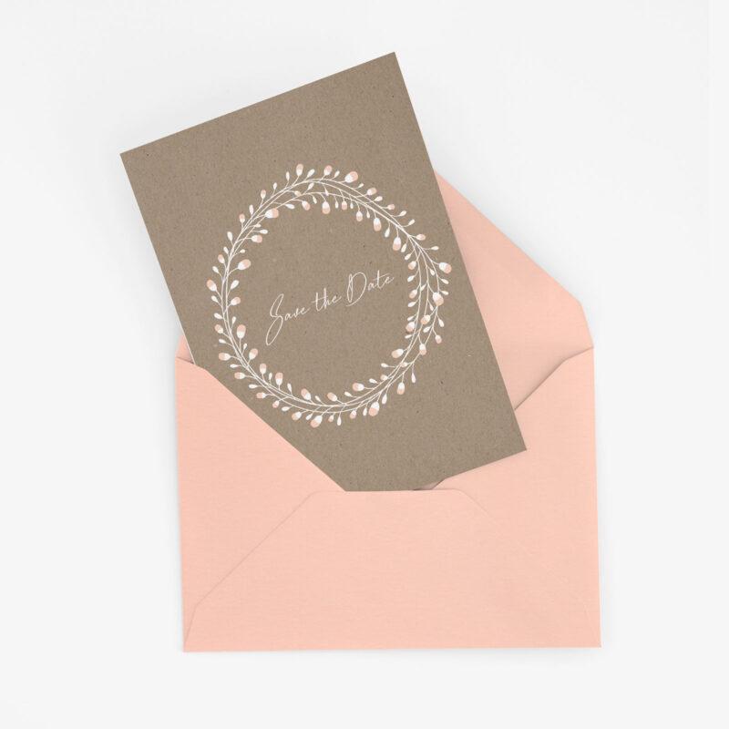 Nachhaltige Save the Date Karte im Floral Craft Design