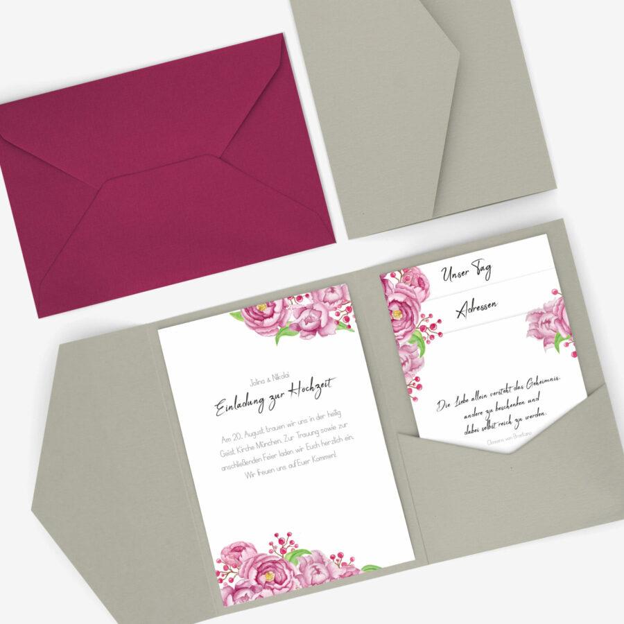 Vintage Hochzeitseinladung Pocketfold im Design Pfingstrose