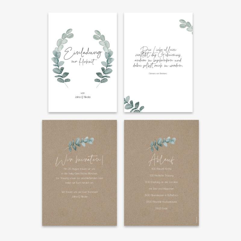 Greenery Hochzeitseinladung im Eukalyptus Design