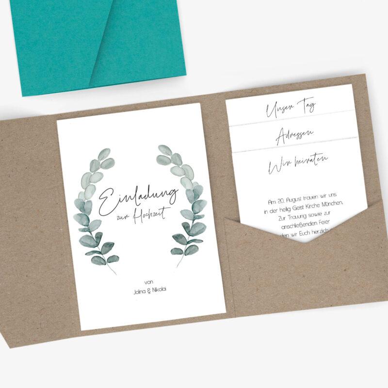 Nachhaltige Pocketfold Hochzeitseinladung im Eukalyptus Design