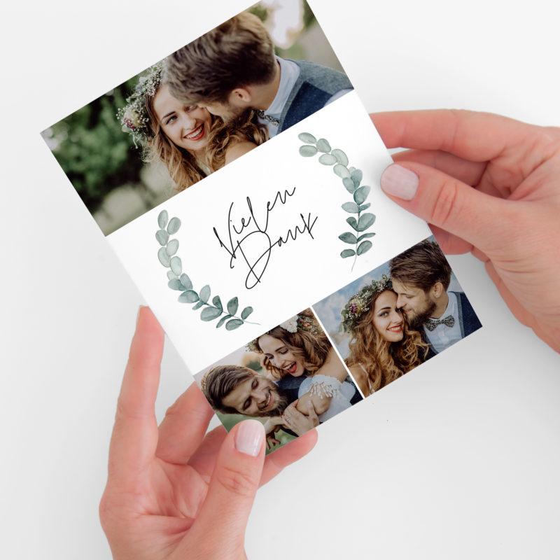 Nachhaltige Dankeskarte zur Hochzeit im Design Eukalyptus