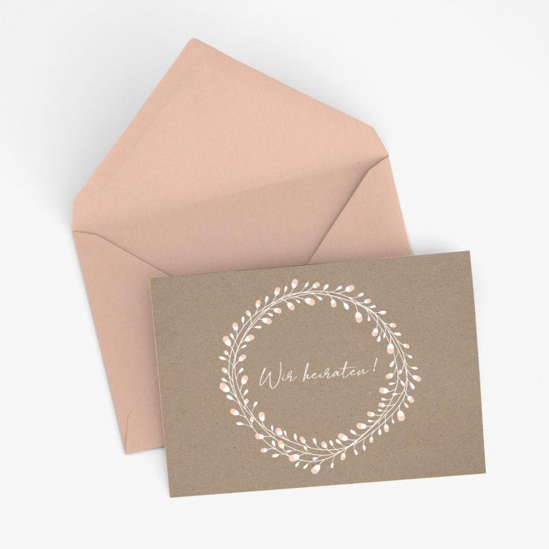 Nachhaltige Hochzeitseinladung in Kraftpapier - Optik